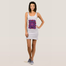 Primrose on heather, geometric sleeveless dress