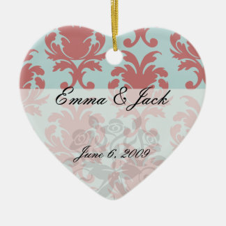 primrose red and muted aqua damask ceramic ornament