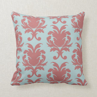 primrose red and muted aqua damask throw pillow