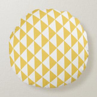 Primrose Yellow with White Coastal Geometric Arrow Round Pillow