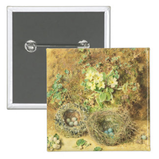 Primroses and Birds' Nests 2 Inch Square Button