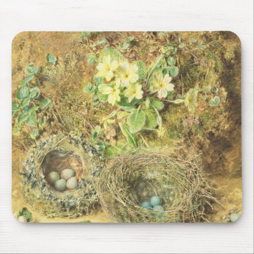 Primroses and Birds' Nests Mouse Pads