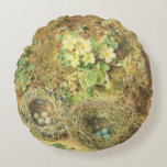 Primroses and Birds' Nests Round Pillow