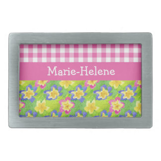 Primroses Belt Buckle to Personalize: Pink Gingham