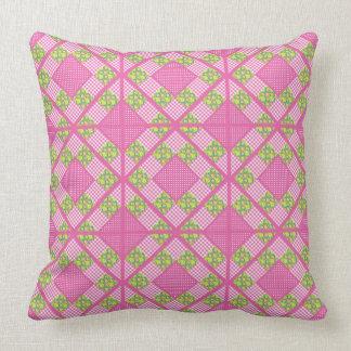 Primroses Floral,Pink, Polkas, Gingham Patchwork Throw Pillow