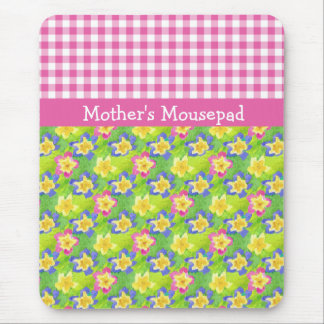 Primroses Mousepad to Personalize: Pink Gingham