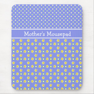 Primroses Mousepad to Personalize Polka Dots, Blue
