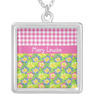Primroses Necklace to Personalize: Pink Gingham