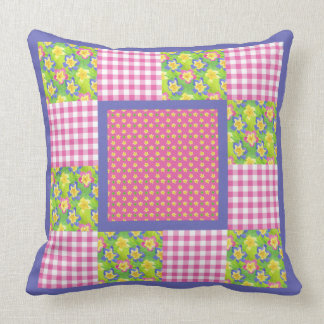 Primroses, Polka Dots and Gingham Throw Pillow