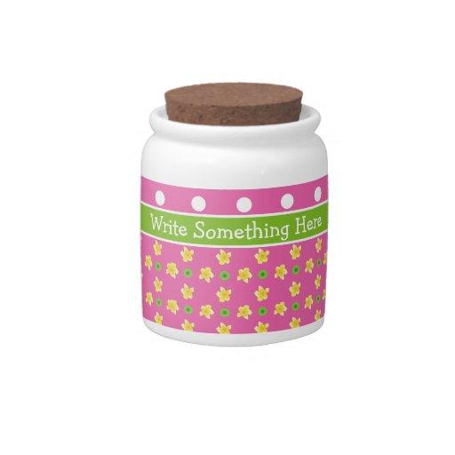 Primroses Storage Jar: Personalize Pink Polka Dots Candy Dish