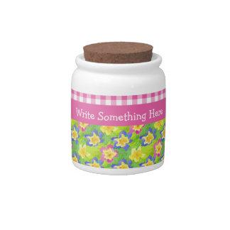 Primroses Storage Jar to Personalize: Pink Gingham Candy Jars