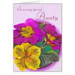 Primula Aunty floral pink purple birthday card