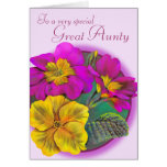 Primula Great Aunty pink purple birthday card