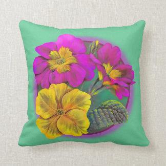 Primula green, yellow & pink fine art throw pillow
