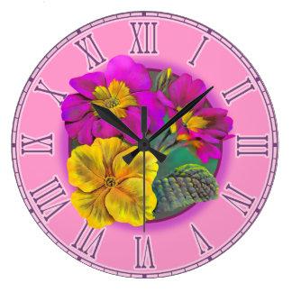 Primula purple & yellow fine botanical wall clock