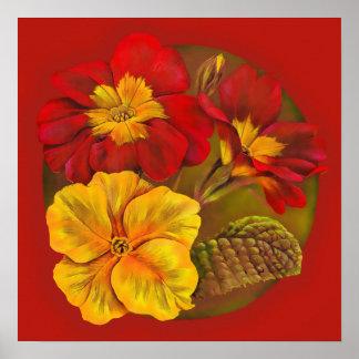Primula red & yellow fine art botanical poster
