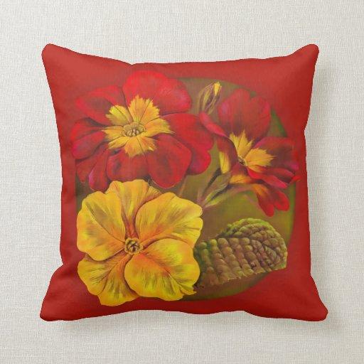 Primula red & yellow fine art throw pillow Zazzle