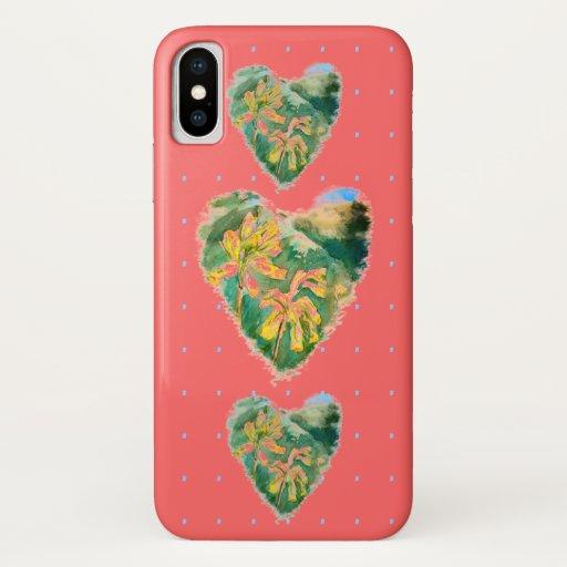 Primula Veris Hot Pink Heart & Dot iPhone XS Case