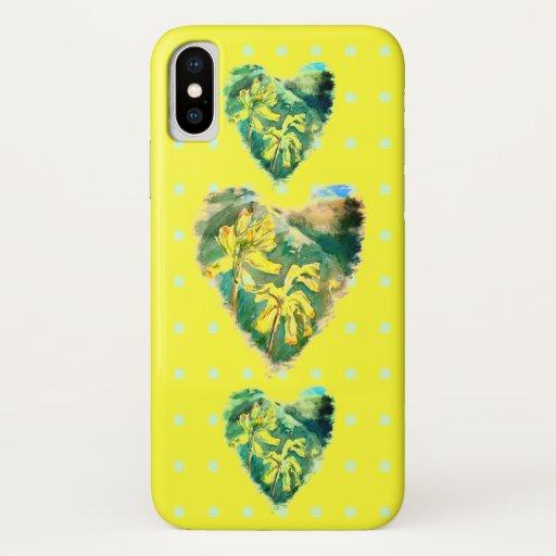 Primula Veris Three Hearts & Polka Dots Yellow iPhone XS Case