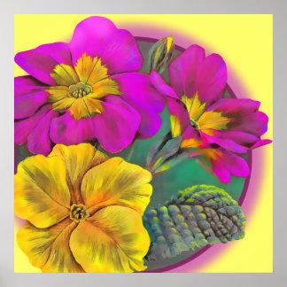 Primula yellow fine art botanical poster print