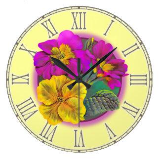 Primula yellow purple fine botanical wall clock