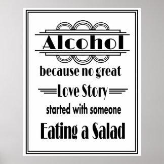 Prin blanco y negro del alcohol del estilo de póster