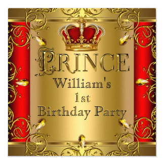 Prince 1st Birthday Boy Red Gold Crown 2 Card