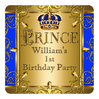 Prince 1st Birthday Boy Royal Blue Gold Crown 2 Card