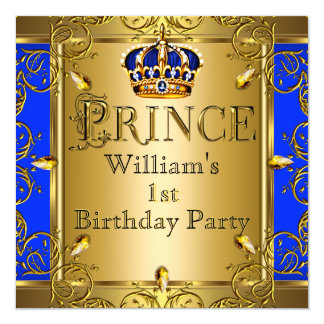 Prince 1st Birthday Boy Royal Blue Gold Crown 2 Card