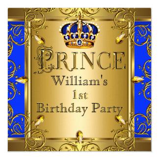Prince 1st Birthday Boy Royal Blue Gold Crown 2 5.25x5.25 Square Paper Invitation Card