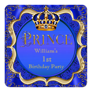 Prince 1st Birthday Boy Royal Blue Gold Crown A Card