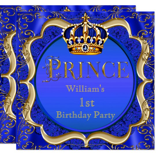 Prince 1st Birthday Boy Royal Blue Gold Crown A Invitation Zazzle Com