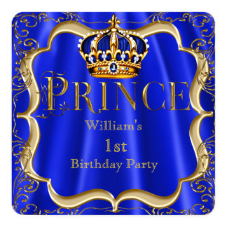 Prince 1st Birthday Boy Royal Blue Gold Crown B Card