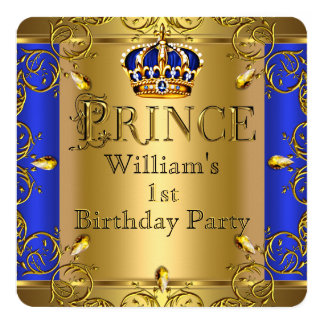 Prince 1st Birthday Boy Royal Blue Gold Crown Card