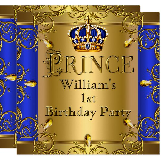 First Birthday Boy Boy Birthday Crown Boy Birthday: Prince 1st Birthday Boy Royal Blue Gold Crown Invitation