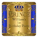 Prince 1st Birthday Boy Royal Blue Gold Crown Invitation Cards