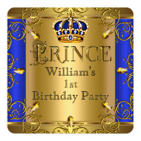 Prince 1st Birthday Boy Royal Blue Gold Crown 5.25x5.25 Square Paper Invitation Card