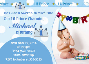 Prince 1st birthday invitations announcements zazzle prince 1st birthday invitation 5x7 photo card filmwisefo