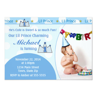 Prince 1st Birthday Invitation 5x7 Photo Card