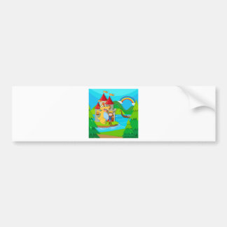 Prince and dragon in the fairy land bumper sticker