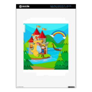 Prince and dragon in the fairy land iPad 3 decals
