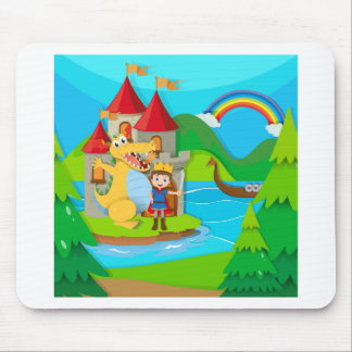 Prince and dragon in the fairy land mouse pad