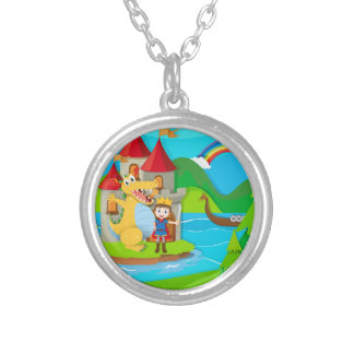 Prince and dragon in the fairy land silver plated necklace