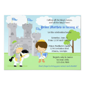 Prince and Knight Kids Birthday Party Invitation 5