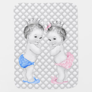 Prince and Princess Twin Baby Receiving Blanket