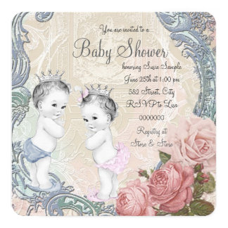 Prince and Princess Twin Baby Shower 5.25x5.25 Square Paper Invitation Card
