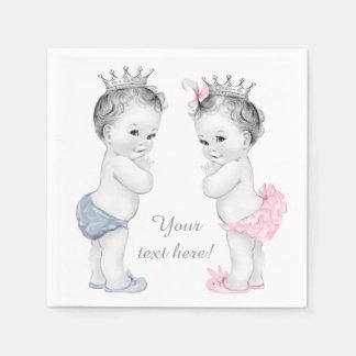 Prince and Princess Twin Baby Shower Napkin
