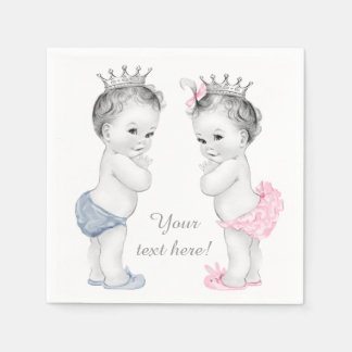 Prince and Princess Twin Baby Shower Disposable Napkins