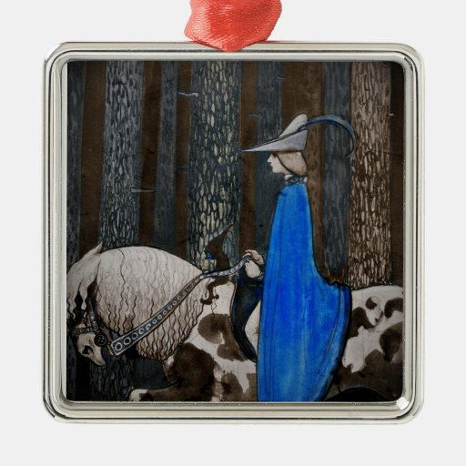 Prince and Tomten Ride Through the Woods Square Metal Christmas Ornament