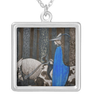 Prince and Tomten Ride Through the Woods Square Pendant Necklace